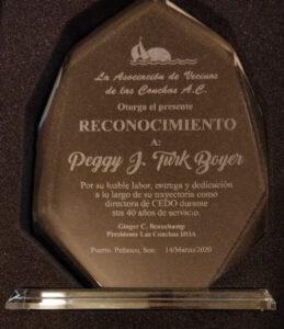 reconocimiento Peggy Boyer