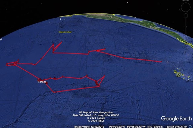 ESPERANZA transmission. Map used by Norman Wray on his Twitter account announcing its disappearance. Credit: Galapagos Whale Shark Project.